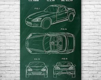 Honda S2000 Poster Patent Art Print Gift, Honda, Sports Car, Honda Poster, S2000 Patent, Honda Patent, Honda Print, Honda Art, Patent Print