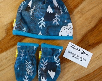 Scratch Mittens Mountain and Tree Hat and Mitten Set Organic Baby Sets Newborn Hat and Mittens Set