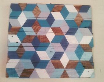 Geometric painting on pallet wood (40 x 36)