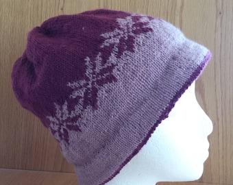 Pink and Maroon Snowflake Hat