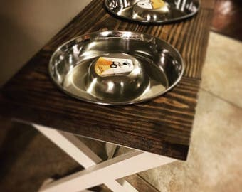 Farmhouse Doggy Feeding Stand