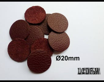 * ¤ 10 round color trend Bordeaux - 20 mm Brown leather ¤ * #C48