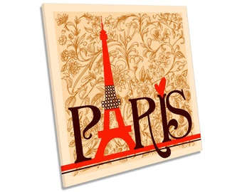 Paris Eiffel Tower Vintage Floral CANVAS WALL ART Square Print
