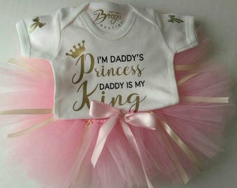 I'm daddy's princess baby grow | Gold Glitter Bow | Luxury Baby Grow | Newborn Gift | Made With Love