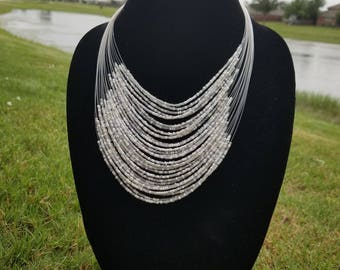A White  Multiple Strand Maasai Necklace with White beads