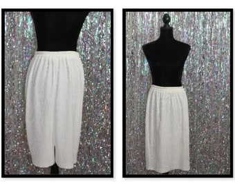 Vintage 70's-80's White Pleated Skirt (16 W Plus Size)