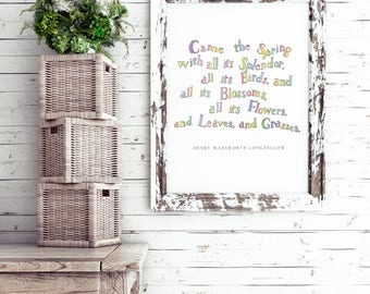 Henry Wadsworth Longfellow Quote | Watercolor Wall Decor | Spring Quote | 8x10 Wall Decor