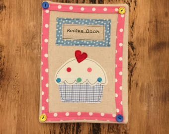 Recipe book large fabric cover can be personalised for free