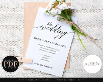 PDF Wedding Invitation, PDF Wedding Invite Template Download, Printable Editable Wedding Invitation, Editable pdf Invitation, DIY (Amelia)