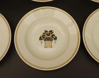 Antique soup plates Digoin Sarreguemines earthenware 1930's Set of 4. Soup, French country soup bowls