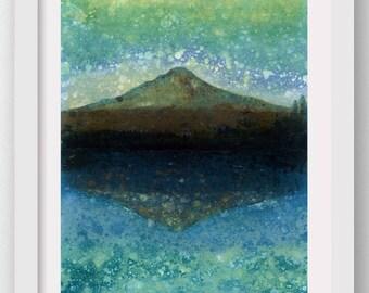 TRILLIUM TWILIGHT, Forest Rain Painting, limited edition art print, Mt Hood, Oregon, Northwest