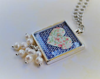 Love Necklace-Long-Silver-Love is all you need-White Pearl-Square-Chevron-Blue&White-Flowered Heart-Daughter Necklace-Valentines-For Her-