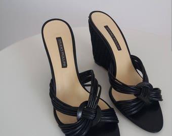 Pollini leather sandals | 80s leather&raffia wedge heels sandals | Pollini wedge sandals