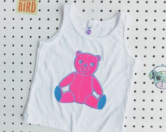 Bo The Bear Hand Printed Toddler Tank Top in Pink.