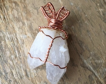 Double point crystal quartz pendant, large, copper wire wrapped