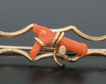 Antique VICTORIAN 10K Solid Yellow Gold Open Pin Brooch with Natural Red Branch Coral with Hand Engraving