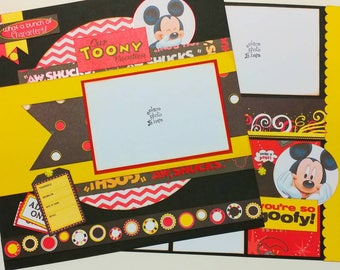 """Premade Scrapbook Layout, Two pages, 12 x 12, Disney """"Our Toony Vacation"""""""
