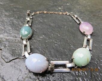 Art Deco Egyptian Revival Scarab Bracelet Jade Jadeite Amethyst Sterling Silver