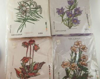Embroidery Kit | Floral Cross Stitch Kits, Artisana Stitchery Kit, Made in Denmark, Wool Needlepoint Kit, Vintage Art Kit, Sold Separately