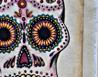 "SALE Original folk art Mexican Amate skull tribal handmade paper on cotton fabric and painted with natural pigments 6.5""x 8"""