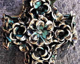 Love and green roses and gold leaf decorative cross wall decor vintage look hand made by metal worker Mexican artist