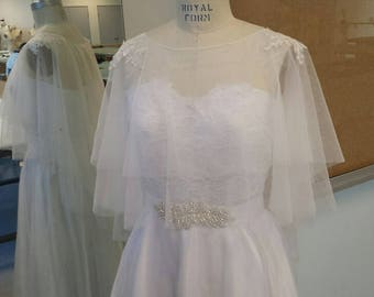 CU02, Bridal Cover Up - OFF WHITE Soft Tulle, with Lace Applique on Shoulders