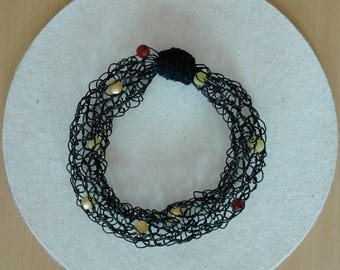 Paper yarn necklace with beads. Flexible. Just pull over the head