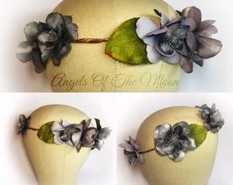 Gray flower crown, gray silk flowers, bridal headpiece, woodland wedding, charcoal crown, gray floral crown, gray hair wreath, circlet