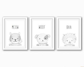 Set 3 Farm Animal Prints - Black and White or Coloured Images - Changeable Characters