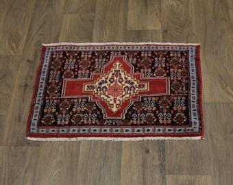 Great Shape Hand Knotted Vintage Bidjar Persian Rug Oriental Area Carpet 1'7X2'5