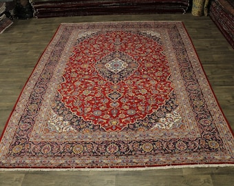 Delightful S Antique Handmade Red Kashan Persian Rug Oriental Area Carpet 10X13