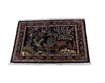 Amazing Animal Hunting Small Kashan Persian Rug Oriental Area Carpet 2ʹ7X3ʹ5