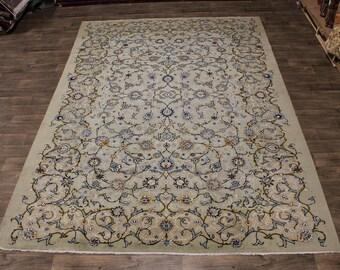 Splendid S Antique Signed Sage Kashan Persian Rug Oriental Area Carpet 9X12