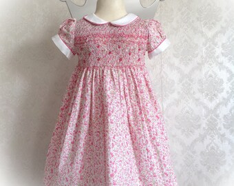 Liberty short sleeve smocked flowered dress pink dress