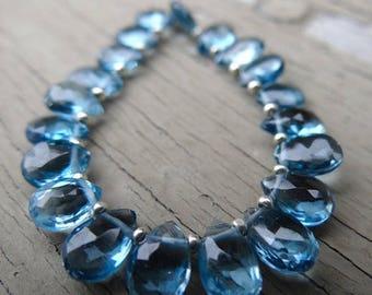 Summer Bling 10% Off London Blue Topaz | Faceted Pear Briolettes | 8x5mm | Sets of 6, Sets of 10, Sets of 20