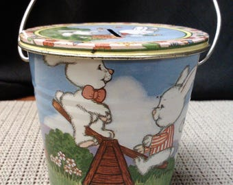 Bunny tin coin bank by Jasco made in Hong Kong in mid-1900s