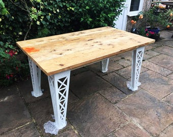 Reclaimed Scaffolding Dining / Garden Table with Steel Legs