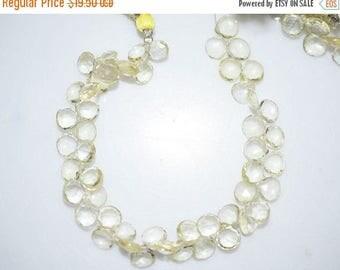 50% OFF Natural Lemon Quartz Heart Shape Faceted Beads -Lemon Quartz Heart Shape Briolette , 7.5x7.5-8x8 mm ,  BL671