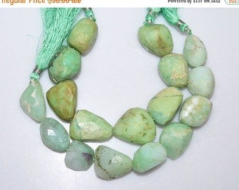 """50% OFF 2 Strands Chrysoprase Faceted Nuggets Briolette - Chrysoprase Tumble Beads , 15x20 - 22x25 mm , 7"""" - BL2933A"""