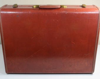 Vintage Samsonite Luggage Suitcase Shwayder Brothers Cognac Brown 24in Faux Leather