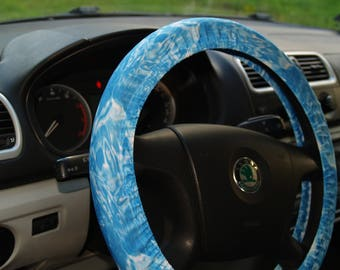 Water style steering wheel cover Car accessories Blue wheel cover Accessory for woman Water steering wheel Fresh steering wheel Car decor