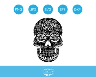 Sugar Skull SVG,  Halloween Skull SVG, Skull SVG, Skull Svg Files, Skull Cut File, Skull Cutting Files, Svg Cut File, Cricut Cut file