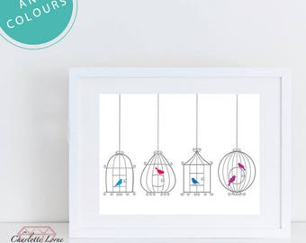 Birds in Cages Art Decor, Any Colour Bird Cage Print, Birds, Framed, Wall Art, Design, A4 Landscape