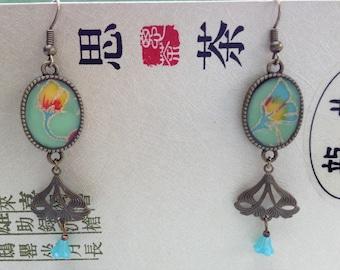 Earrings, paper Japanese flowers.