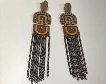 Aztec earrings, long earrings, pensientes Aztec style ethnic