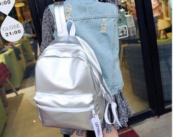 Silver Glossy Backpacks For Teenage Girls