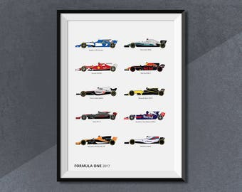 Formula One Race Car 2017 Collection Print, F1 Motorsport Lineup 2017
