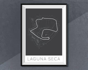 Mazda Raceway Laguna Seca Print, Race Track Circuit Map Monterey, California, United States