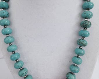 Turquoise, silver and coral necklace