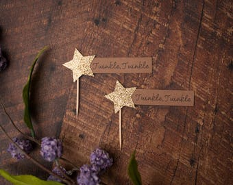 Twinkle Cupcake Toppers -  Little Star Party, Stars Decor, Birthday, Party Decor, Cupcake Decor